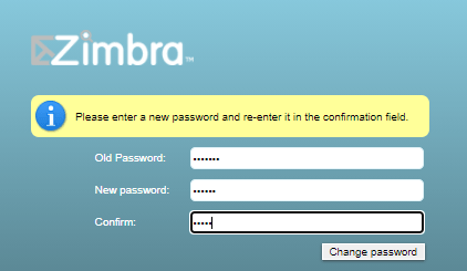 Zimbra password change