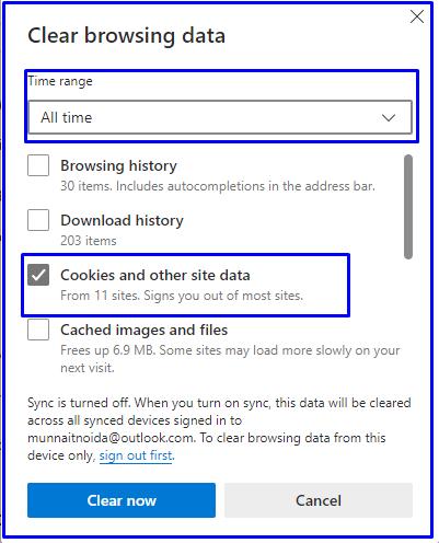 clear cookies in Microsoft edge