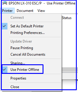 remove Check from Use Printer Offline