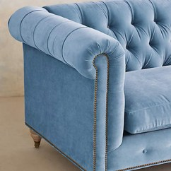 Gray Linen Chesterfield Sofa Circle Settee Hotel Lobby Pantone Serenity - Concepts And Colorways