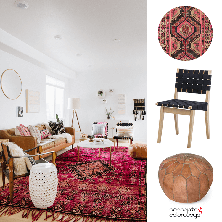 living room pouf tv wall unit designs for india a vintage with pink rug and tan leather concepts hot white