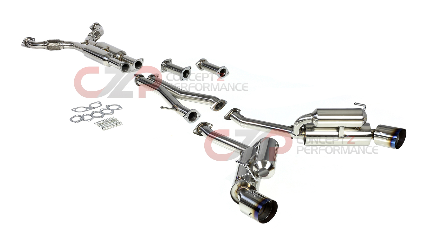 DNA Motoring True Dual Catback Exhaust System w/ Burnt
