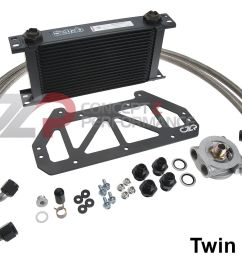 czp full flow engine oil cooler kit nissan 300zx z32 [ 1400 x 983 Pixel ]