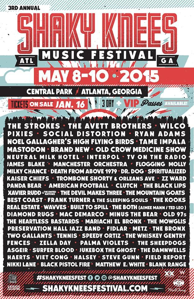 shaky knees music festival 2015 lineup