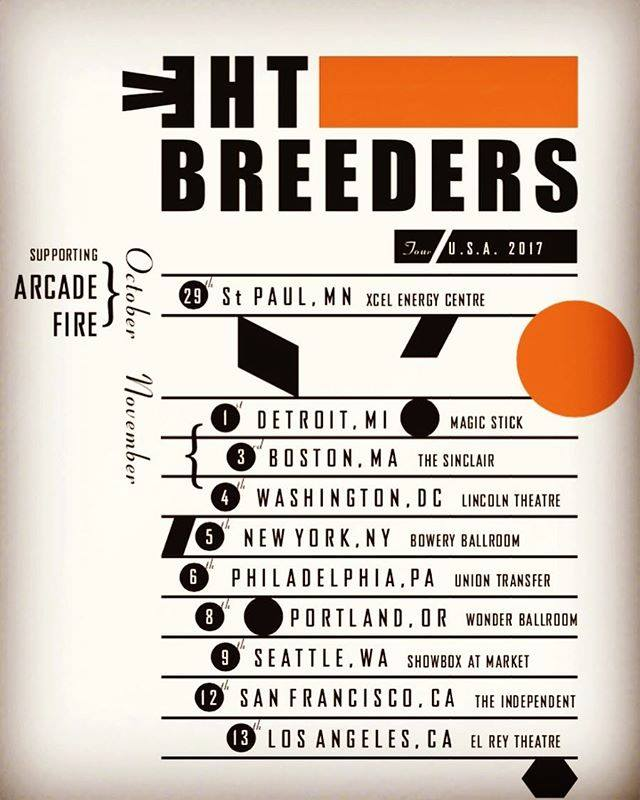 The breeders 2017 tour poster