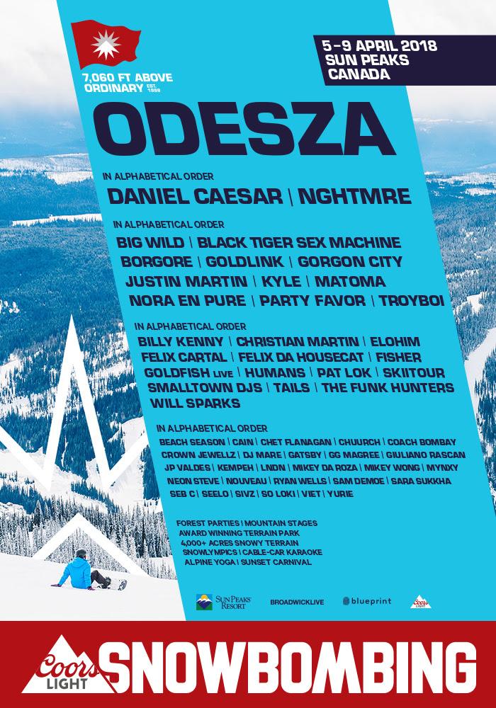 Snowbombing canada 2018 lineup poster at Sun Peaks Resort (Kamloops) – April 5th-9th 2018
