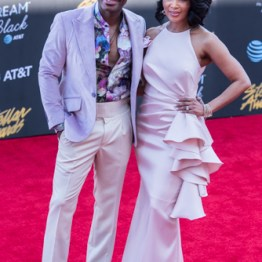 Kirk Franklin w/ Wife Tammy Collins at the 34th Stellar Awards held at Orleans Arena, Las Vegas on March 29, 2019 in Las Vegas, NV, USA (Photo by: Mike Ware/Sipa USA)