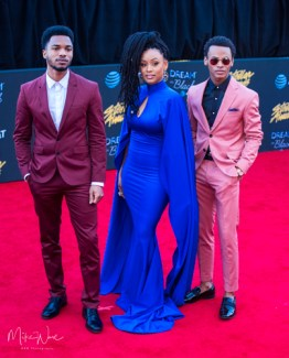 Jelani Winston, Chris Jefferson, and Katlyn Nichol at the 34th Stellar Awards held at Orleans Arena, Las Vegas on March 29, 2019 in Las Vegas, NV, USA (Photo by: Mike Ware/Sipa USA)