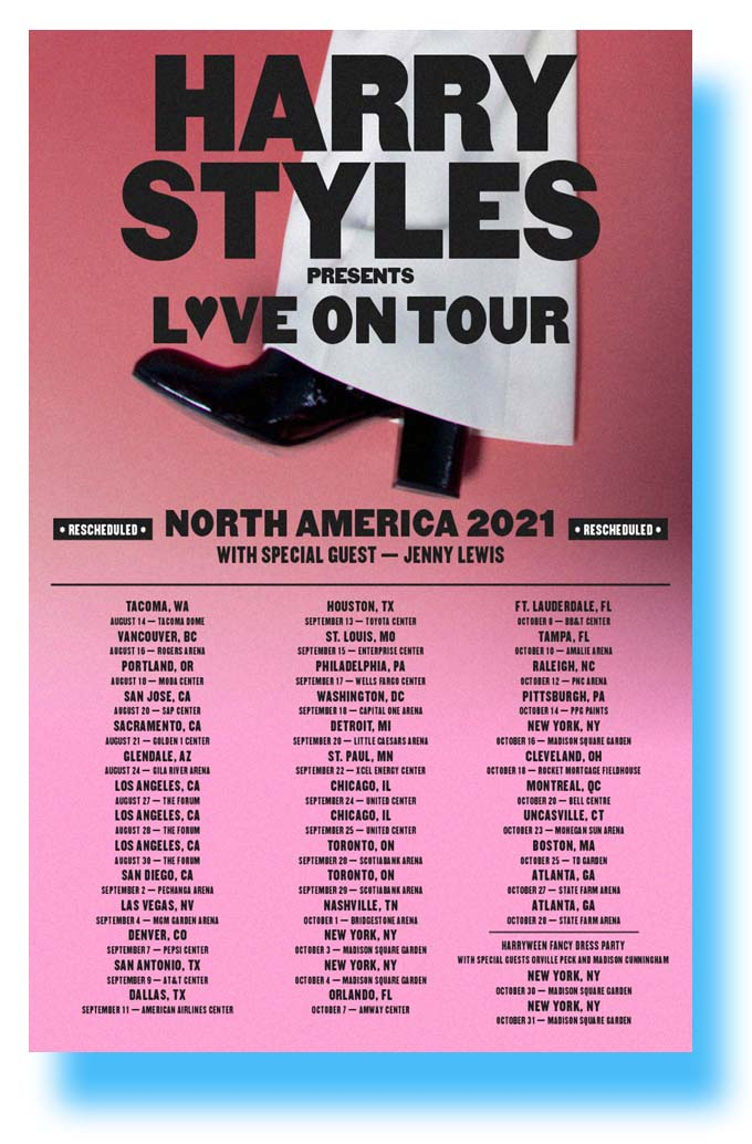 harry styles poster concert 2021 world