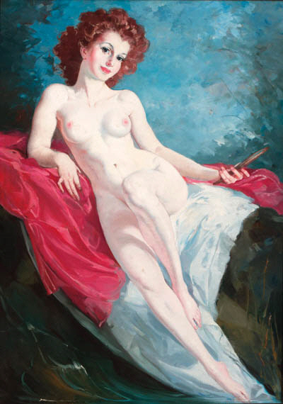 A Reclining Female Nude With A Mirror
