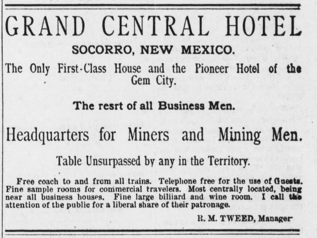 Ad, Black Range Newspaper, Aug 17, 1883