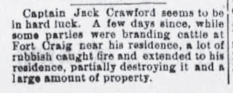 Clipping-Fire at Captain Jack's Fort Craig Residence, 1886