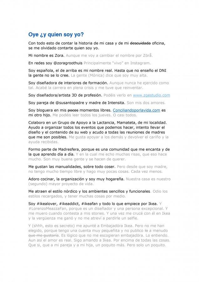 Extracto de la carta de amor para Ikea y Madresfera, como propuesta al concurso CasasConHistoria, pagina 7