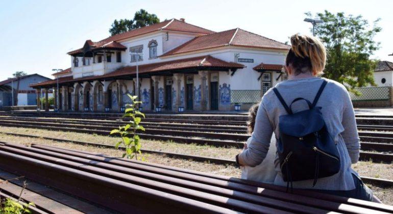 estación de tren para el post train spot en beira portugal