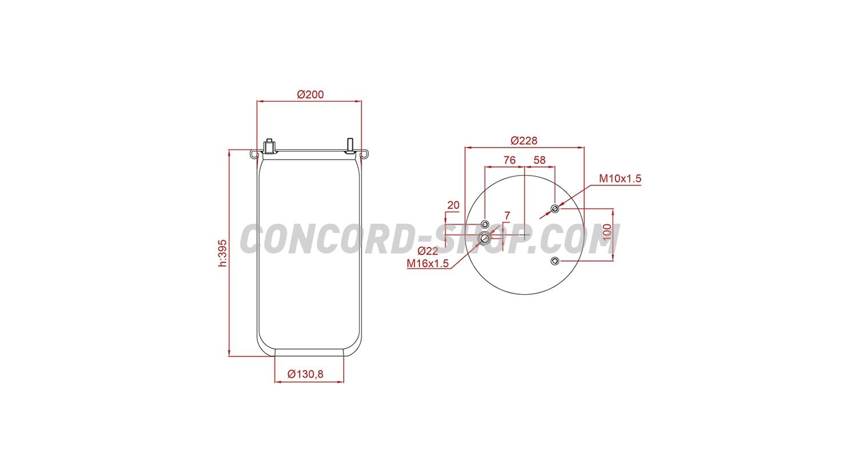 Пневмоподушка для DAF 3 шпильки-воздух, 887M, W01M580780