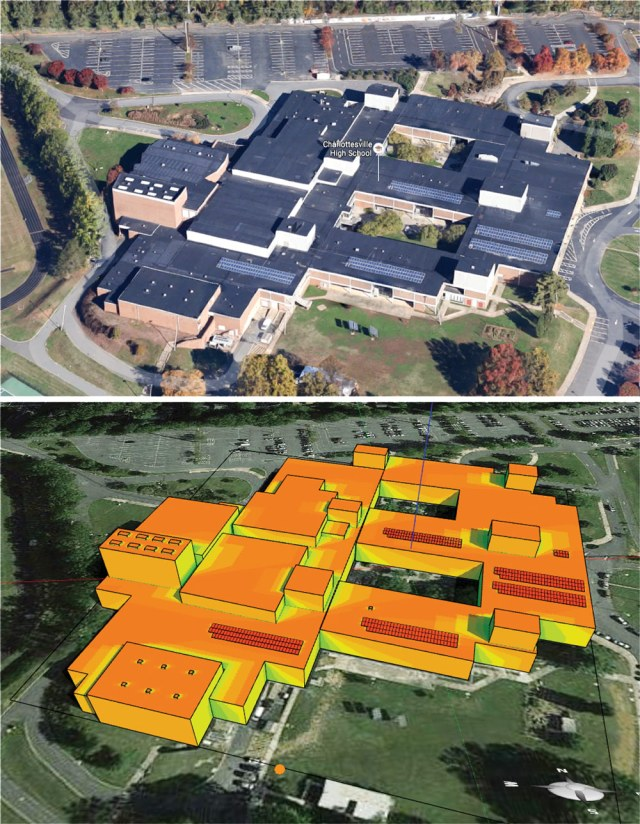 The 3D model of a school in Google Maps and Energy3D's shading visualization shows the distribution of solar radiation on the roof.