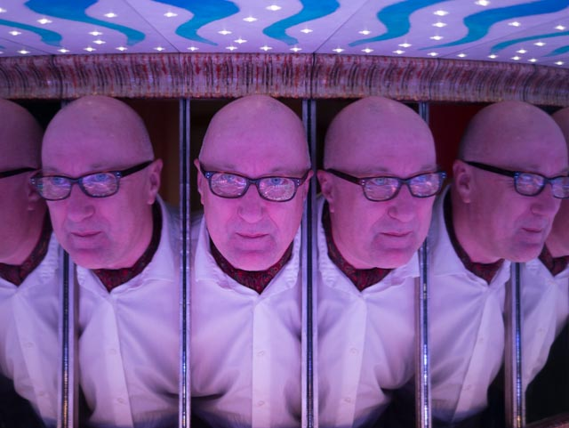 The many heads of Dave Patten from the Science Museum of London in a Wonder Lab exhibit.