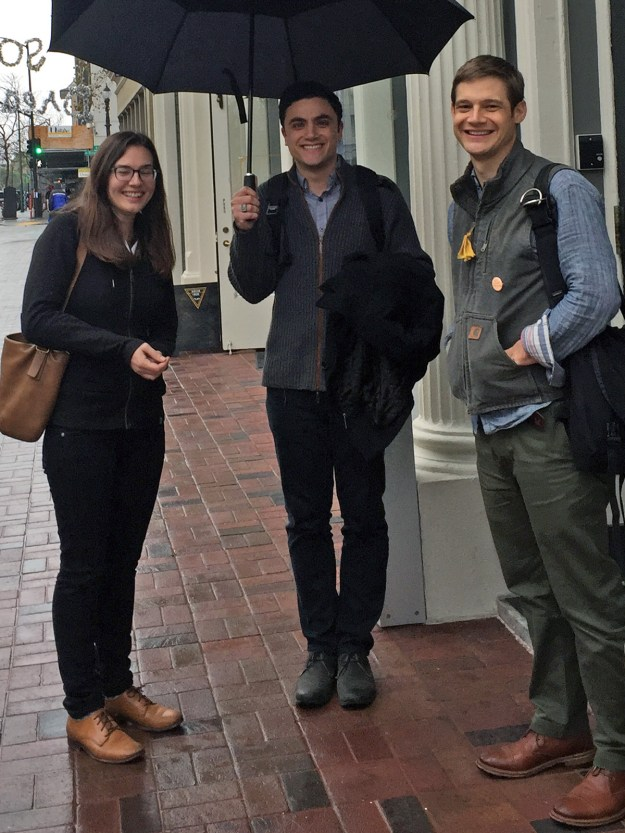 Figure 2. Lisa Hardy, Eli Kosminsky, and Colin Dixon on their first (rainy) visit to Dynamicland.