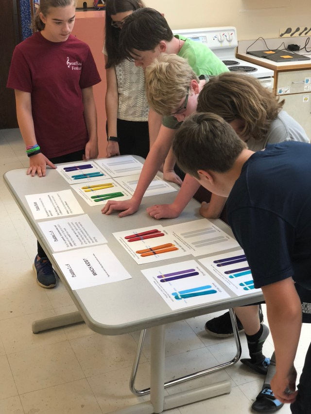 Students solving chromosome puzzles.