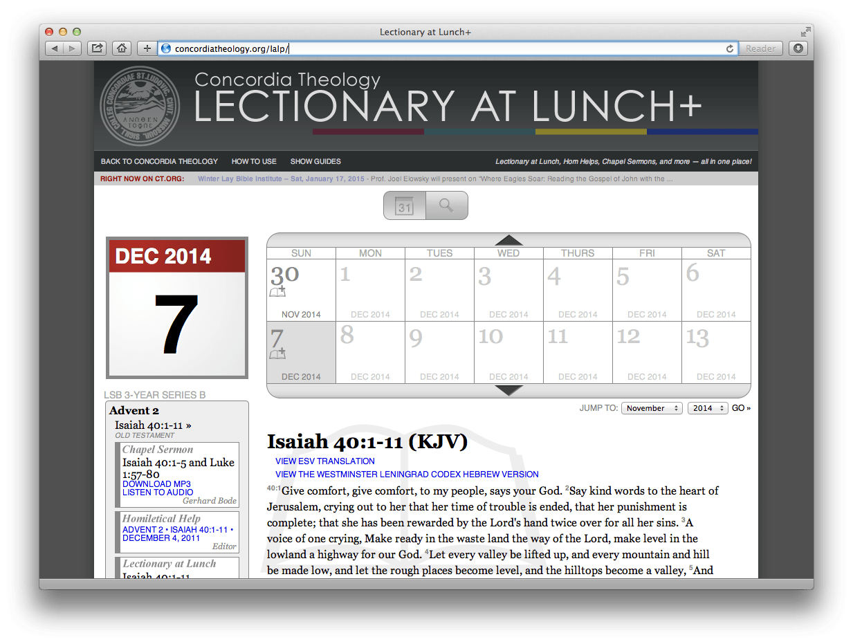 Lectionary at Lunch LIVE