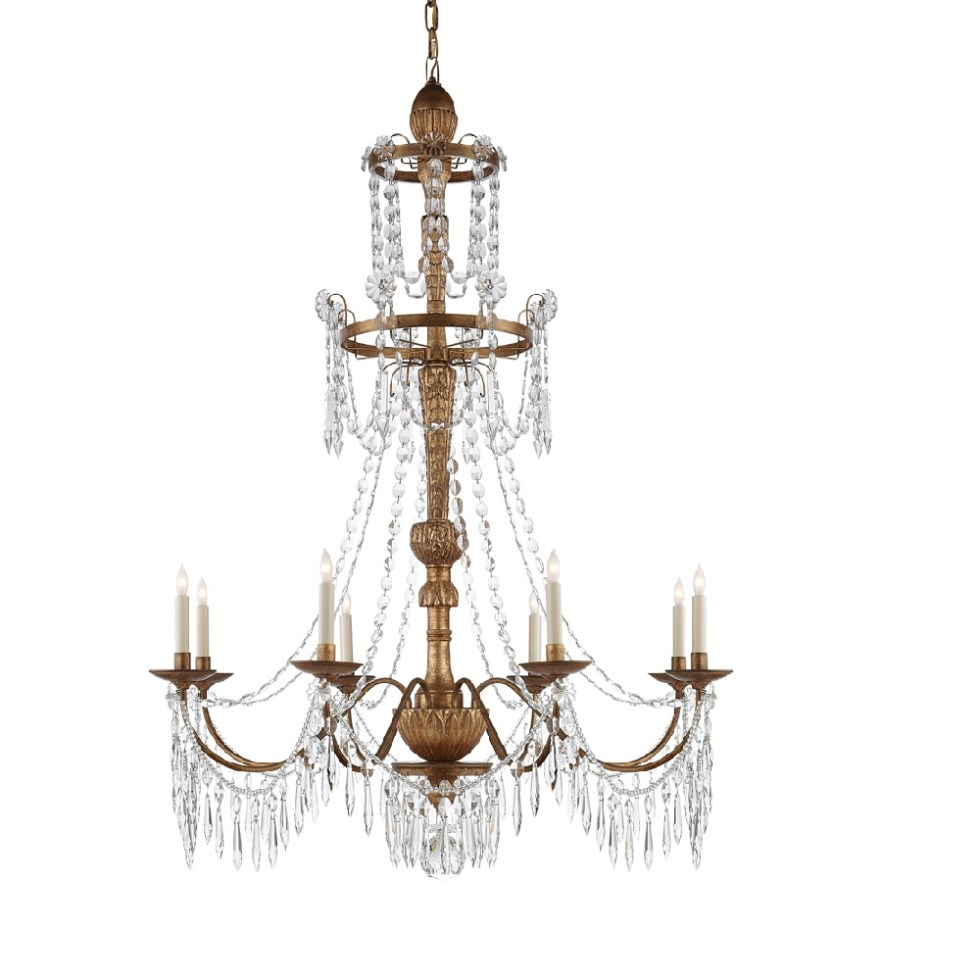 Visual Comfort Chandelier in Antique Gilded Wood
