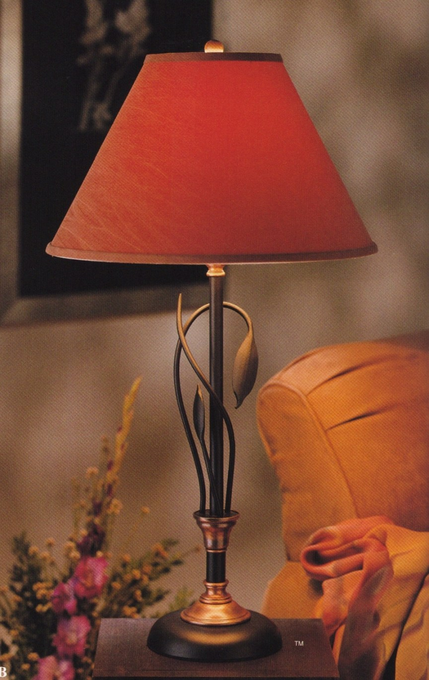 Hubbardton Forge Table Lamp in Black Wrought Iron with Copper and a Terra Suede Lampshade