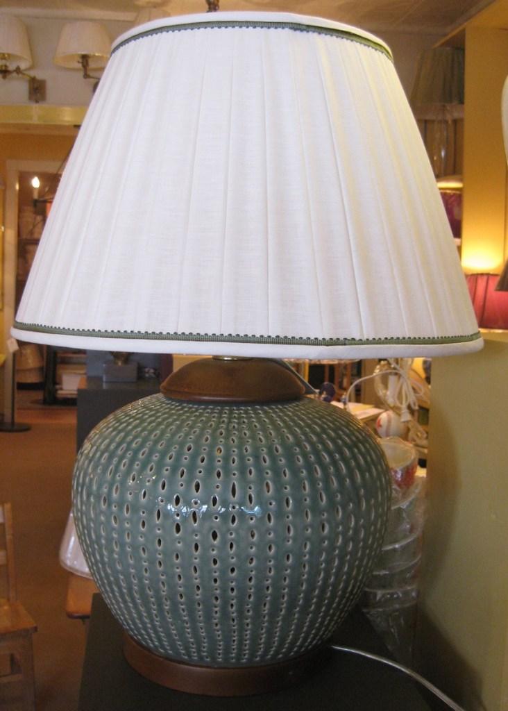 Image 1 Linen Box Pleat wih Lauren Celadon Lamp