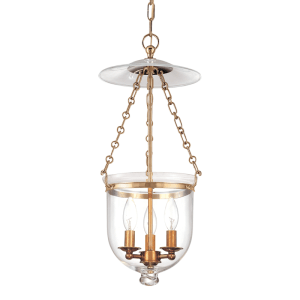 252-AGB-C1_Hudson Valley Hampton 3-Light Lantern and Pendant in Clear Glass with Aged Brass Accents
