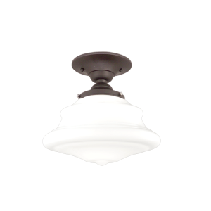 3409F-OB_Hudson Valley Petersburg Single Light Semi-Flush Mount Ceiling Fixture with an Opal Glass and Old Bronze Accents