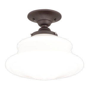 3412F-OB_Hudson Valley Petersburg Single Light Semi-Flush Ceiling Fixture in an Opal Glass Shade with Old Bronze Accents