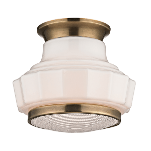 3809F-AGB_Hudson Valley Odessa Single Light Flush Mount Ceiling Fixture in Milk Glass and Aged Brass