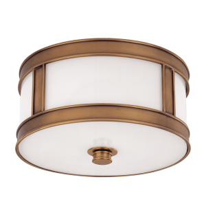 5510-AGB_Hudson Valley Patterson Single Light Flush Mount Ceiling Fixture in an Antique Brass Finish