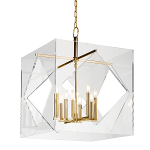5924-AGB_Hudson Valley Travis 8-Light Acrylic Cube Pendant with Aged Brass Accents