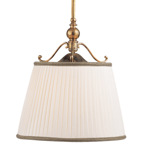 7711-AGB_Hudson Valley Orchard Park Single Light Pendant in an Aged Brass Finish with a Pleated Shade