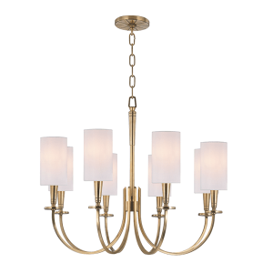 8028-AGB_Hudson Valley Mason 8-Light Chandelier in an Antique Brass Finish