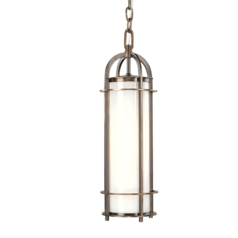 8521-HB_Hudson Valley Portland Single Light Pendant in Opal Glass with an Historic Bronze Finish