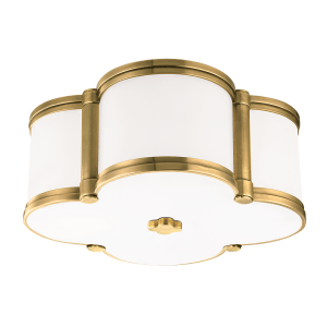 1212-AGB_Hudson Valley Chandler Clover Leaf 2-Light Flush Mount Ceiling Fixture in Opal Glass with Aged Brass Accents