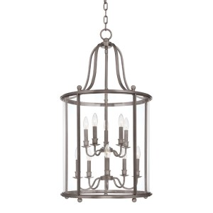 1320-AN_Hudson Valley Mansfield 10-Light Lantern and Pendant in an Antique Nickel Finish