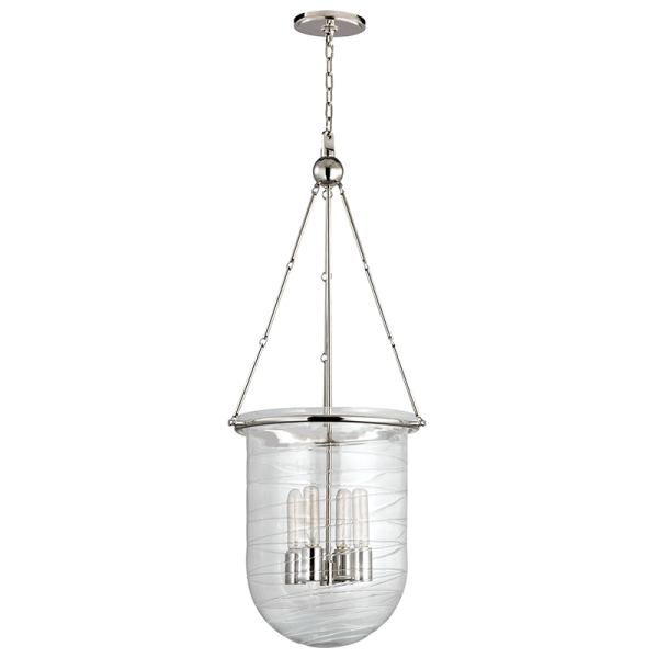214-PN_Hudson Valley Willet 4-Light Pendant with a Blown Glass Bell Jar Shade and Polished Nickel Accents