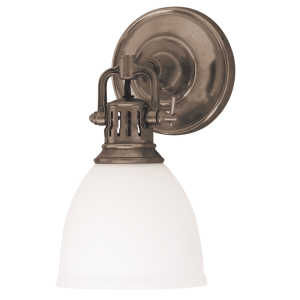 2201-HB_Hudson Valley Pelham Single Light Opal Glass Wall Sconce with Historic Bronze Accents