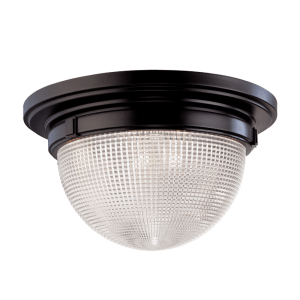 4412-OB_Hudson Valley Winfield Single Light Flush Mount Ceiling Fixture with Textured Glass and an Old Bronze Finish