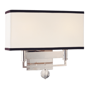 5642-PN_Hudson Valley Gresham Park 2-Light Rectangular Wall Sconce with a Drum Shade and Polished Nickel Metal