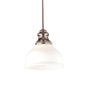 5921-PN_Hudson Valley Sutton Single Light Pendant in Opal Glass with Polished Nickel Accents