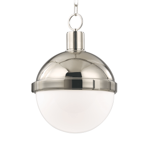 609-PN_Hudson Valley Lambert Single Light Pendant in a Polished Nickel Finish with Opal Glass