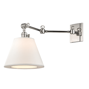 6233-PN_Hudson Valley Hillsdale Single Light Wall Sconce in Opal Glass with Polished Nickel Accents