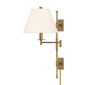 7731-AGB_Hudson Valley Claremont Single Light Wall Swing Arm Lamp in an Aged Brass Finish