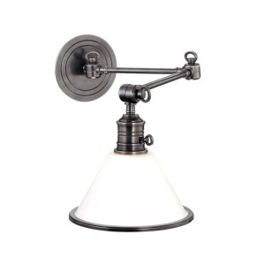 8332-AN_Hudson Valley Garden City Single Light Wall Swing Arm in an Antique Nickel Finish with an Opal Glass Shade