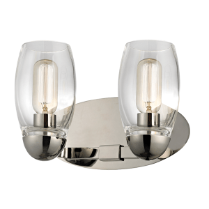 8842-PN_Hudson Valley Pamelia 2-Light Wall Sconce and Bathroom Wall Fixture in Blown Glass and Polished Nickel