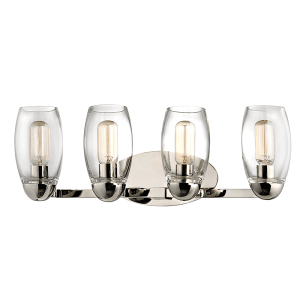 8844-PN_Hudson Valley Pamelia 4-Light Wall Sconce and Bathroom Wall Fixture in Blown Glass and Polished Nickel