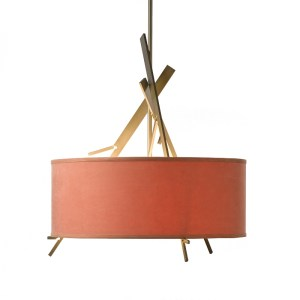 136620-07-Hubbardton Forge Arbo Adjustable Pendant with a Terra Micro-Suede Lampshade